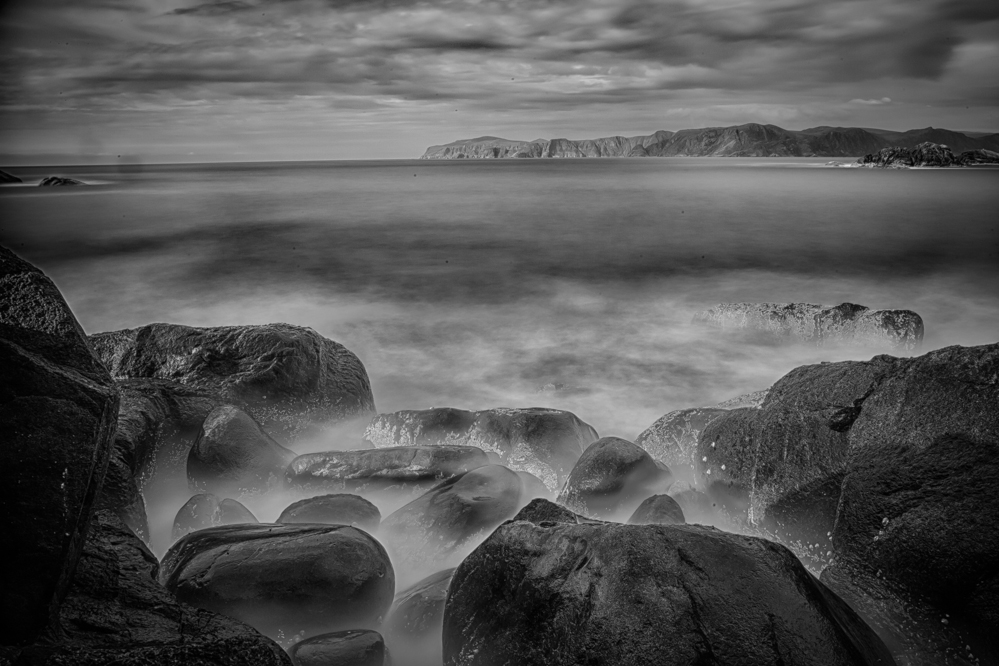 Waves in the rocks. HDR photo using ND filter to make very long exposures possible. Photo: John Einar Sandvand