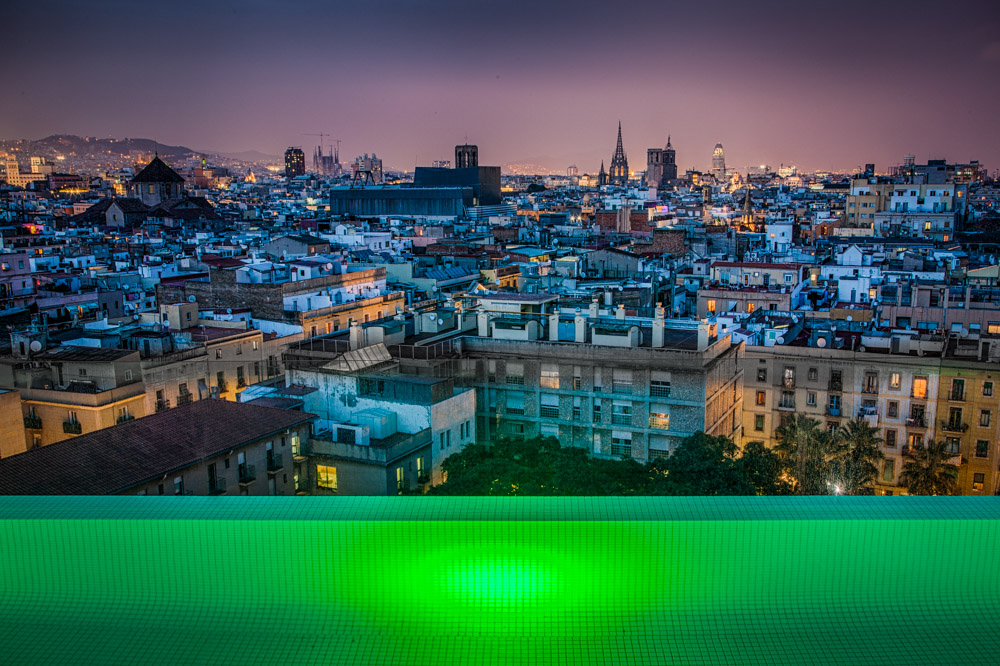Barcelona - taken in January this year. The green in the front is the rooftop swimming pool at the hotel where I stayed. Photo: John Einar Sandvand