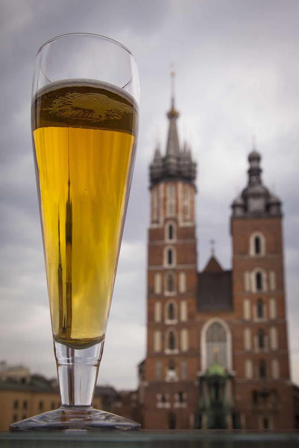 St. Mary´s church in Krakow - as seen through a glass of cold beer. Photo: John Einar Sandvand